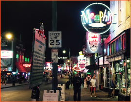 Night time street scene in Memphis