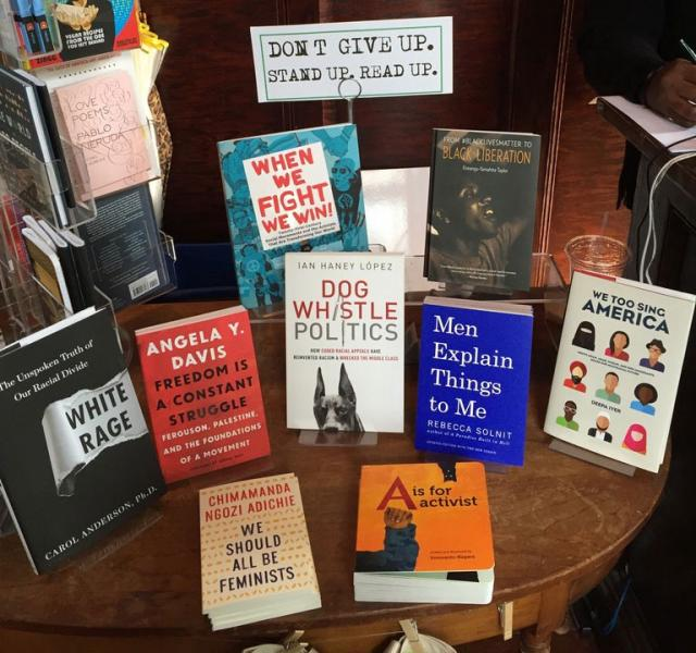 Politics and Prose book display